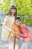 Беременная мать и сын в лете Стоковое фото RF