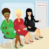 Беременная навещает доктор иллюстрация вектора