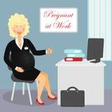 Беременная на работе бесплатная иллюстрация