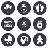 Беременность, материнство и значки заботы младенца Стоковое Изображение RF