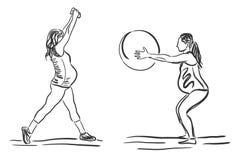 Беременные женщины, который включили в фитнес работают, иллюстрация вектора, эскиз Стоковое Изображение