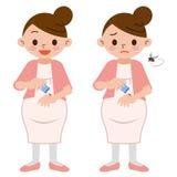 Беременные женщины для того чтобы покрасить медицину укусов насекомого иллюстрация штока
