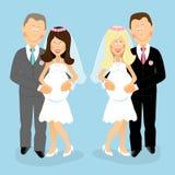 Беременные пары свадьбы иллюстрация вектора