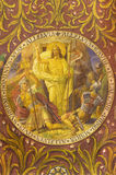 БЕРЛИН, ГЕРМАНИЯ, 14 -ГО ФЕВРАЛЬ -, 2017: Фреска воскресения Иисуса в базилике Rosenkranz церков Стоковое Изображение