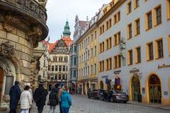 22 01 2018 Берлин, Германия - старый исторический квартал и stre Стоковые Изображения
