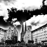 Берлин sightseeing Художнический взгляд в черно-белом Стоковые Фото
