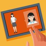 Беседовать с женщиной иллюстрация вектора