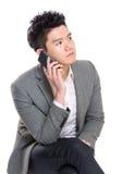 Беседа бизнесмена на телефоне Стоковое Изображение RF