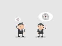 Беседа бизнесмена о большой и малой цели Конспект персонажа из мультфильма иллюстрации вектора Doodle Стоковое фото RF