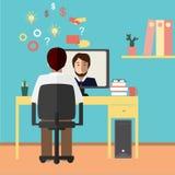 Беседа через интернет 2 бизнесмена связывают через интернет также вектор иллюстрации притяжки corel Стоковые Фотографии RF