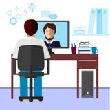 Беседа через интернет Студент и гувернер связывают через интернет Стоковые Фото