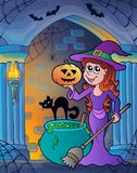 Беседка стены с темой 4 хеллоуина Стоковая Фотография RF