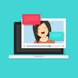 Беседовать видео онлайн на иллюстрации вектора компьютера иллюстрация штока
