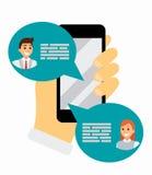 Беседующ на телефоне через применение, онлайн переговор в интернете Послание используя мобильный телефон, плоский вектор иллюстрация штока