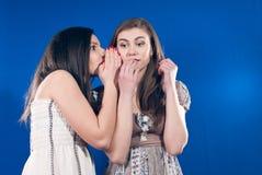 беседуя девушки говоря шептать Стоковое фото RF