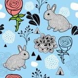 Бесконечная картина с розовыми цветками и малыми любимчиками шаржа иллюстрация штока
