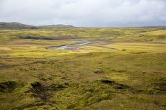 Бесконечные поля лавы покрытые с зеленым мхом пересекают небольшое реку, вычурно изгибая стоковые изображения