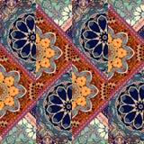 Бесконечный орнамент заплатки с половиной цветка мандалы в этническо иллюстрация штока