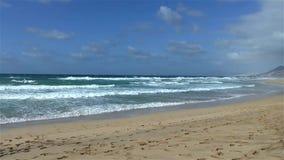 Бесконечный песчаный пляж развевает вода бирюзы видеоматериал
