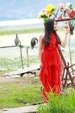 Беспечальная красота на Юньнань Erhai, здоровой живущей концепции, чисто счастье и свободе стоковое фото rf