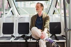 Беспилотное испытание общественного транспорта по улица стоковые фотографии rf