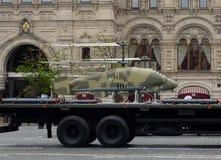 Беспилотный воздушный корабль Katran на красной площади во время репетиции парада победы стоковая фотография