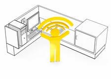 Беспроводная сеть включила кабину стола размеров офиса иллюстрация штока