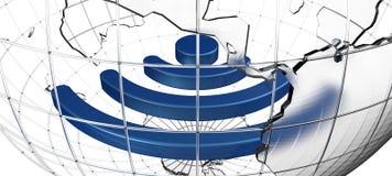 Беспроволочный знак внутри стеклянного глобуса земли Стоковая Фотография RF