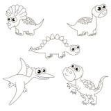 Бесцветный большущий комплект dino dinosaurus, большая страница, который нужно покрасить, простая игра образования для детей Стоковые Фотографии RF