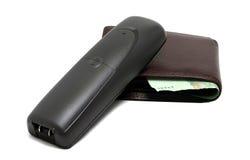 Бесшнуровой телефон и бумажник Стоковые Изображения