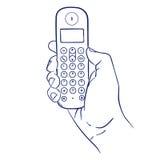 бесшнуровой телефон руки бесплатная иллюстрация