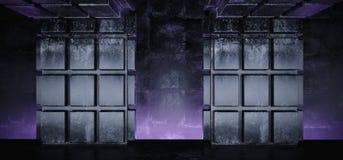 Бетонная плита Grunge футуристического пурпура Sci Fi накаляя сформировала столбцы в переводе предпосылки 3D темной пустой комнат иллюстрация вектора