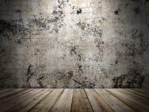Бетонная стена и деревянный пол в стиле grunge стоковые фотографии rf