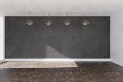бетонная стена перевода 3d серая с коричневыми слоистыми настилом и потолочными лампами стоковая фотография rf