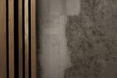 Бетонная стена с древесиной на левой стороне стоковые изображения rf