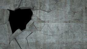 Бетонная стена с разрушением, 3 d представляет Стоковое Изображение RF