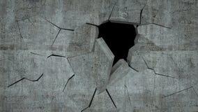 Бетонная стена с разрушением, 3 d представляет Стоковая Фотография RF