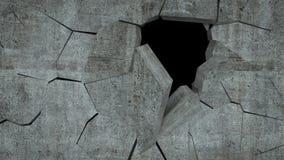 Бетонная стена с разрушением, 3 d представляет Стоковое Изображение