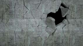 Бетонная стена с разрушением, 3 d представляет Стоковое фото RF