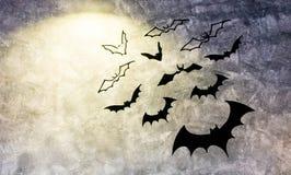 Бетонная стена с украшением летучих мышей, предпосылкой хеллоуина Стоковая Фотография RF