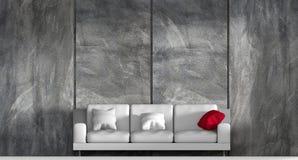 бетонная стена 3d и белая предпосылка софы Стоковое фото RF