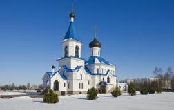 Беларусь, Минск: ландшафт зимы Правоверная церковь St Nicholas Стоковая Фотография RF
