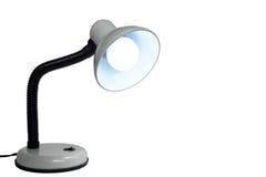 Белая лампа на белой предпосылке с пустым пространством для вашего текста Стоковые Фото