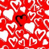 Белая безшовная картина сердца изолированная на красном цвете Акварель вектора Стоковое Изображение RF