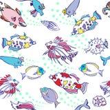 Белая безшовная картина с рыбами цвета иллюстрация вектора