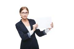 Белая бумага выставки бизнес-леди Стоковая Фотография RF