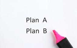 Белая бумага, планирует a или планирует b Стоковое фото RF
