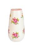 Белая ваза при покрашенные розы изолированные на белой предпосылке Стоковые Фото
