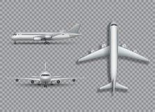 Белая вверх изолированная насмешка самолета Воздушные судн, иллюстрация 3d авиалайнера реалистическая на прозрачной предпосылке иллюстрация штока