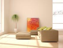 Белая внутренняя концепция для живущей комнаты Стоковое Изображение RF